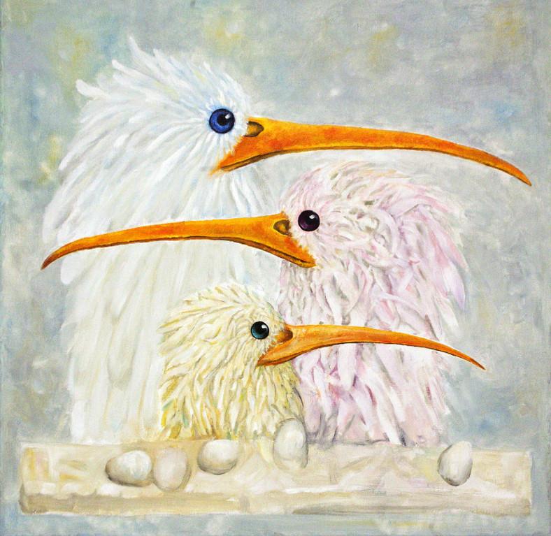 Родион Михуля.   Белые птицы моего сна.   2012 г.   Холст, масло. 75х75 см.