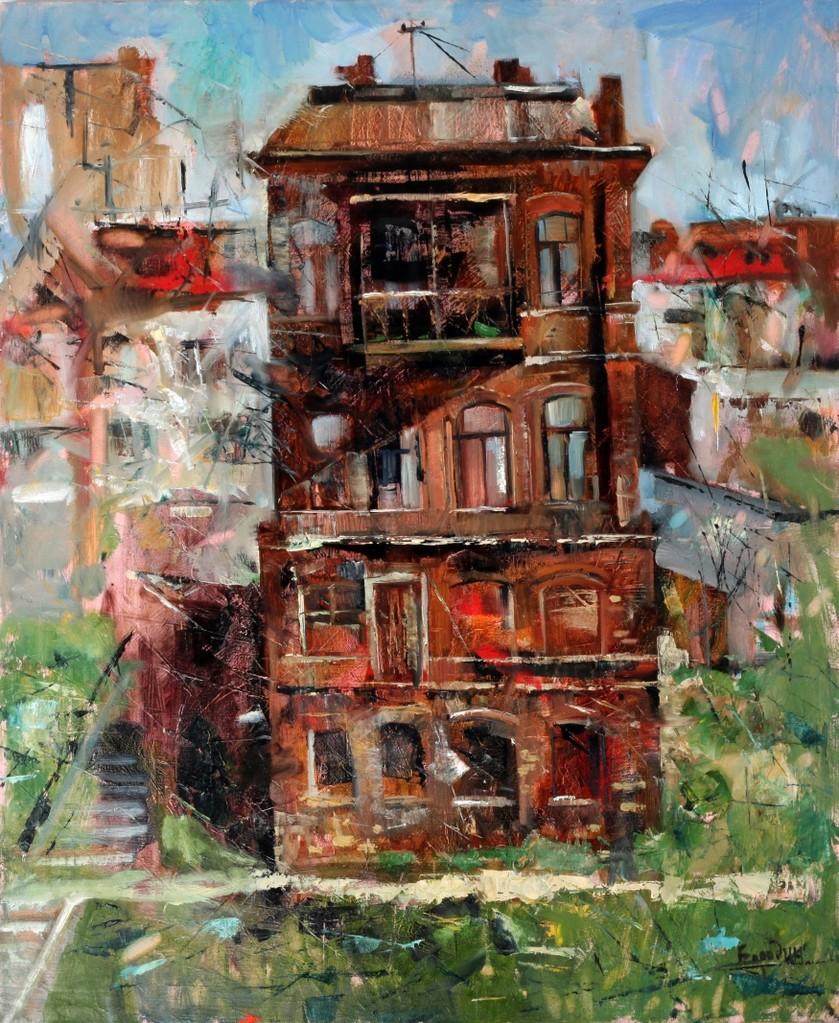 Дом на набережной.          Холст, масло.           2012 г.           90х82 см.