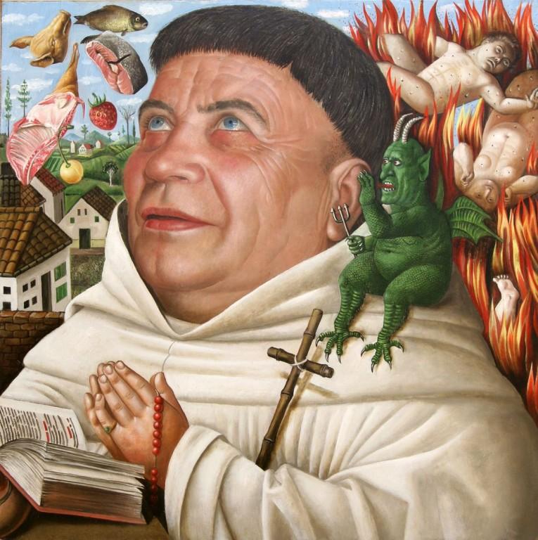 Рамиль Хабибуллин.    Искушение. (Портрет Владислава Коробецкого).    2008 г. Холст, масло. 48,5х48,5 см.