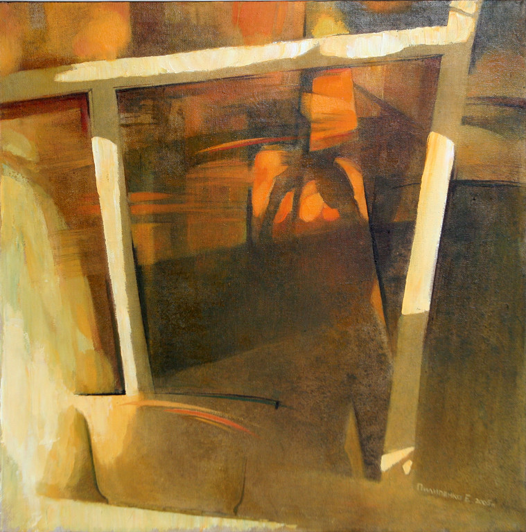 Екатерина Пилипенко.     Отражение в окне.     2005 г.    Холст, масло. 60 х 60 см.