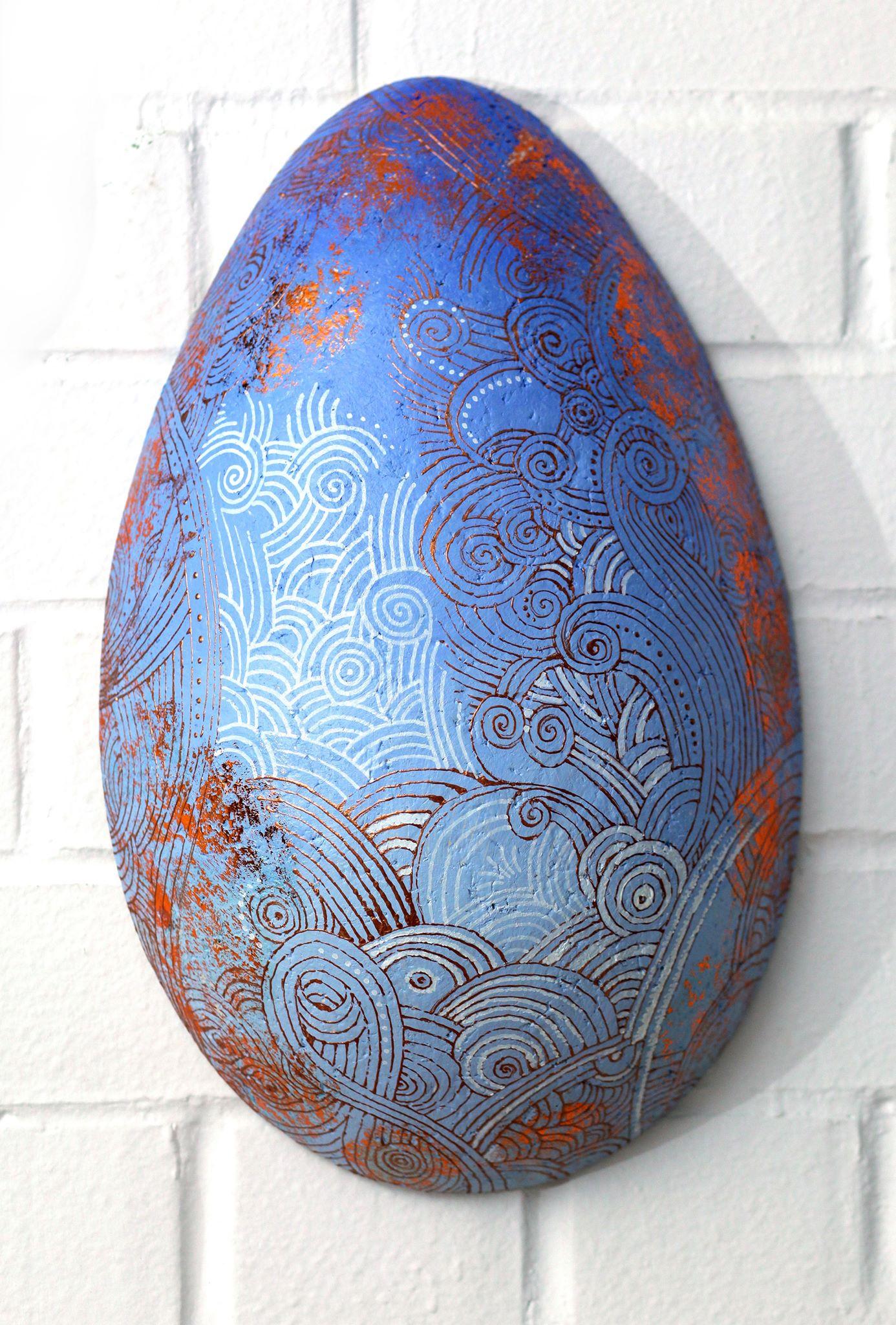 Яйцо - 2.             2019 г.         Папье-маше.           (44 х 28 см.)