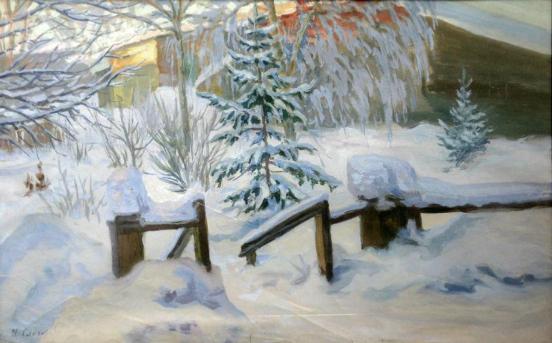 Слюсарев Иван Константинович (1886-1962 г.г.)             Садик зимой.           1930 г.      Бумага, темпера.     51,5х84,5 см