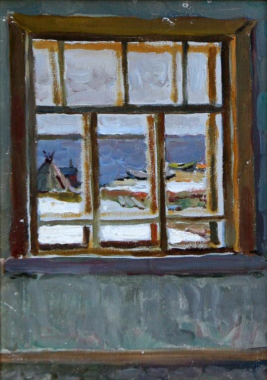 Александр Бурак.    Окно (Эскиз к картине «Рыбак»).   1971 г.   Картон, масло.           19х13 см