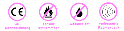 CE-Kennzeichen, schwer entflammbar, wasserdicht, verbesserte Raumakustik