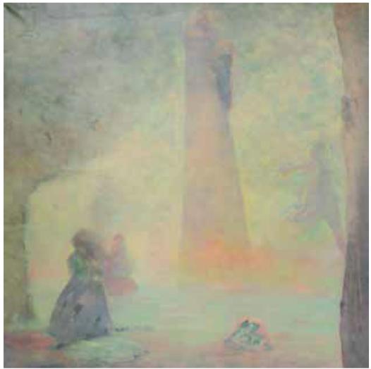 MARIO GURFEIN , huile sur toile, signée et datée 1985, 100 x 99,5 cm , expose à la galerie Agnès Thiébault