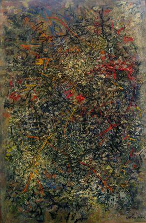 Lutka Pink, huile sur toile,circa 1960, signée, 100x65cm EXPOSE À LA GALERIE AGNES THIBAULT