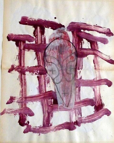 MASQUE 2009, Pigment et Acrylique sur papier 63.5 x49.5cm