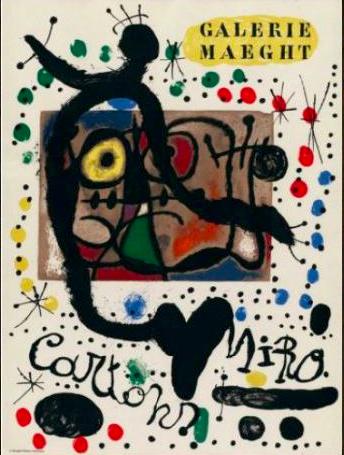 Joan Miro, affiche lithographique , galerie Maeght , à la galerie agnes thiebault