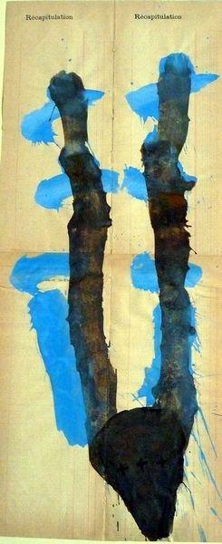 MASQUE 2005, Pigment et Acrylique sur papier 67x26cm