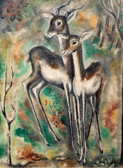 Sei Koyanagui , les biches , huile sur toile, signée , expose à la galerie agnes thiebault