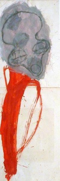 MASQUE 2007, Pigment et Acrylique sur papier 82.5x28.5cm