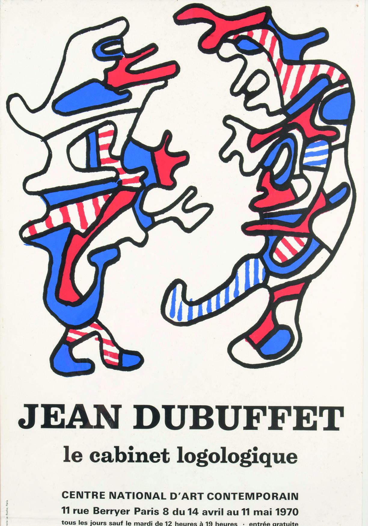 jean Dubuffet , affiche lithographique , 69 x 48 cm