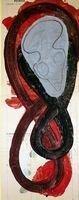 MASQUE 2005, Pigment et Acrylique sur papier,67x26 cm