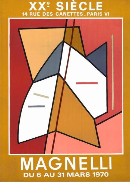 Alberto Magnelli , XXeme siècle affiche lithographique originale exposition 6 au 31 mars 1970 , Mourlot imprimeur , présenté à la galerie agnes thiebault, paris