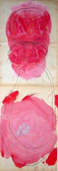 MASQUE 2008, Pigment et Acrylique sur papier 94x33cm