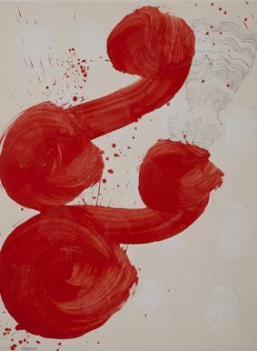 Fadia Haddad:  Masques sr 2015.  pigments et médium acrylique / papier
