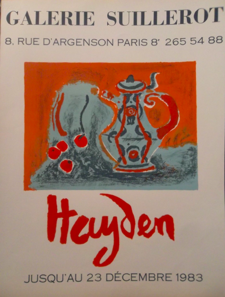 Henri Hayden affiche lithographique original, , Galerie SUILLEROT , 1983, à la galerie agnes thiebault, paris