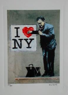 Banksy , lithographie , numérotée au crayon  28 x 38 cm