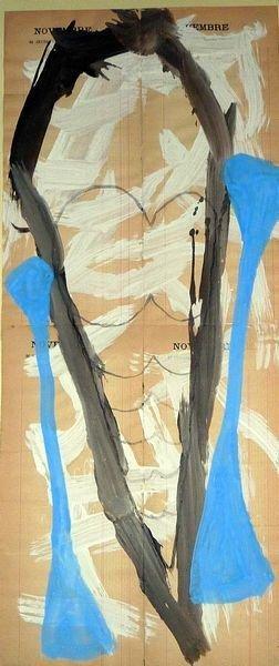FADIA HADDAD MASQUE 2005, Pigment et Acrylique sur papier,67x26 cm