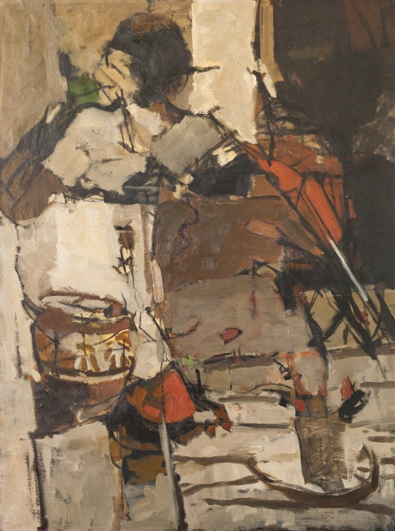 Chittrovanu Mazumdar , oil on canvas , expose à la galerie agnes thiebault