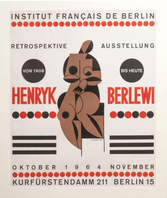 Henryk Berlewi, exposition retrospective à l'Institut Français de Berlin, octobre - novembre 1964. Affiche lithographique. 63 x 49,5 cm, Exposé à la galerie agnes thiebault, Paris