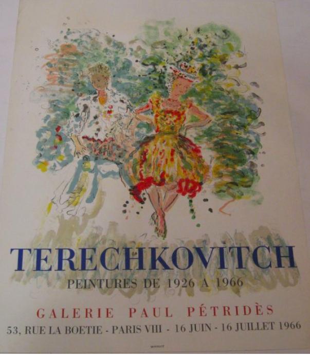 Constantin Terechkovitch   Affiche lithographie Imprimée par Mourlot pour une exposition à Paris à la GALERIE PETRIDES   Datée 1966 EXPOSE À LA GALERIE AGNES THIEBAULT