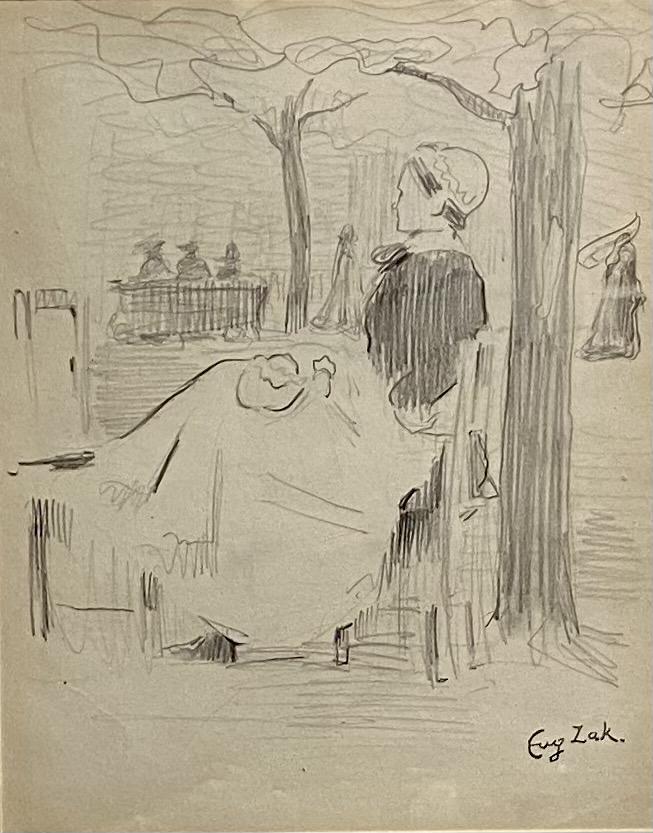 Eugène Zak,  bretonne assise , circa 1904 ,mine de plomb sur papier/ pencil on paper, cachet de la signature , 21 x 17 cm , galerie agnes thiebault, Paris