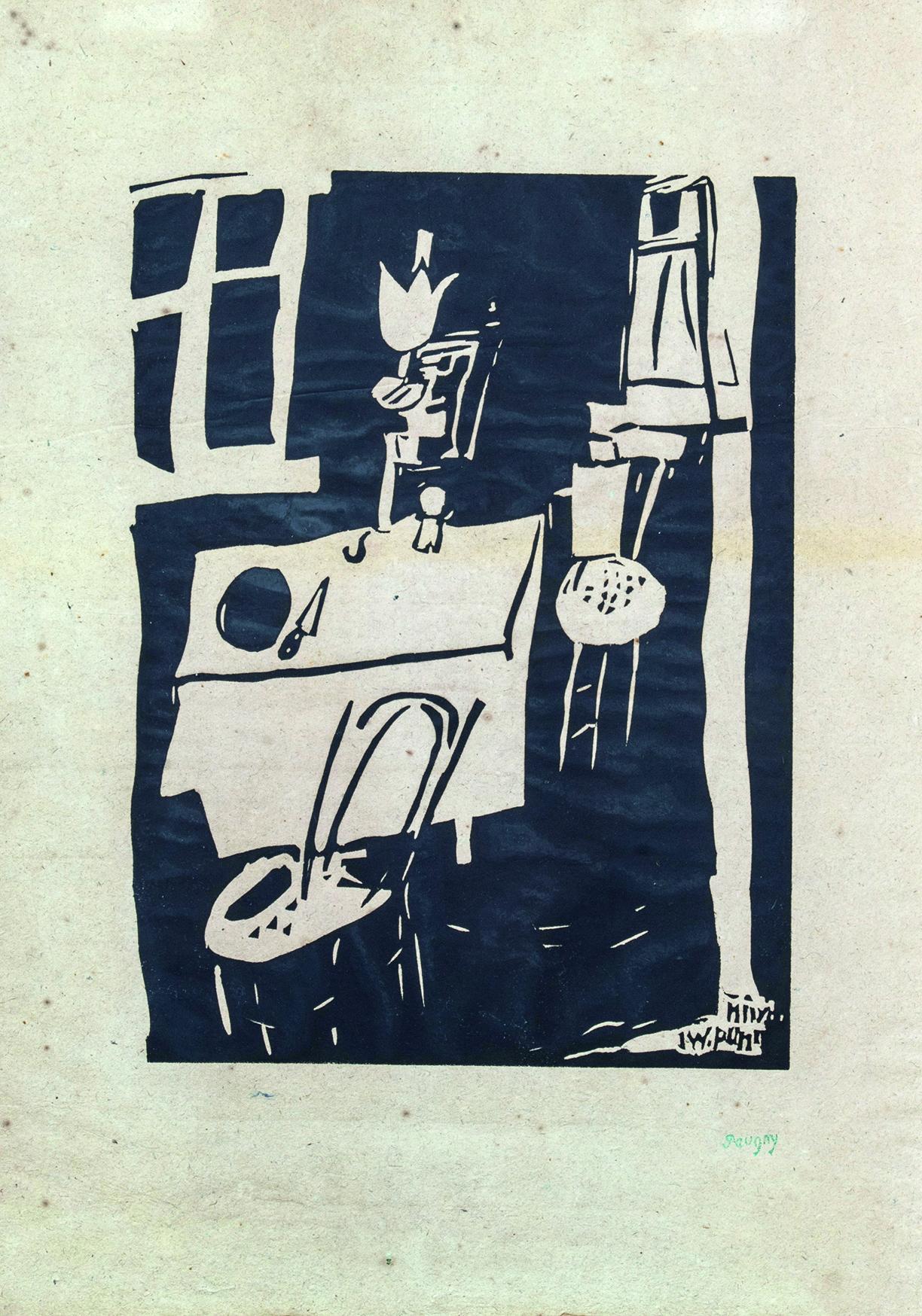 Jean Pougny , l'atelier, linogravure, cachet de la signature, 44 x 31 cm