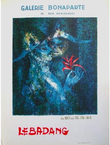 Dang LEBADANG affiche d'exposition originale , galerie Bonaparte20 au 15 décembre 1964, Desjobert imprimeur , présenté à la galerie agnes thiebault