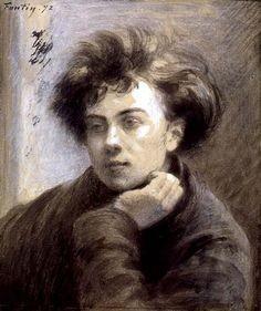 """Rimbaud ritratto da P. Berrichon, stile """"Coin de table"""" di Fantin-Latour"""
