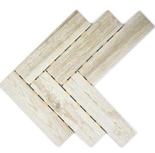 Holzoptik Mosaik Fliesen Dot Fischgrät hellbeige