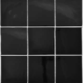 Mosaikfliese schwarz glänzend 10x10cm