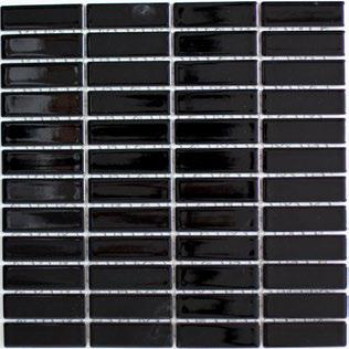 Mosaikfliese schwarz glänzend 2x7cm
