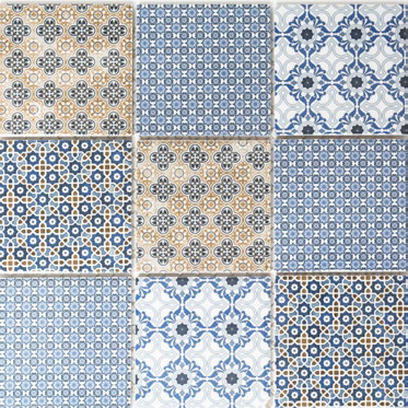 Blau weiss orange Retro Mosaikfliese