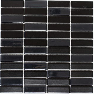 keramik mit glasmosaik 2x7cm schwarz