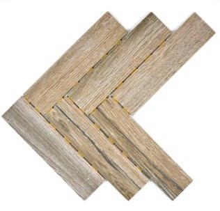 Holzoptik Mosaik Fliesen Dot Fischgrät dunelbraun