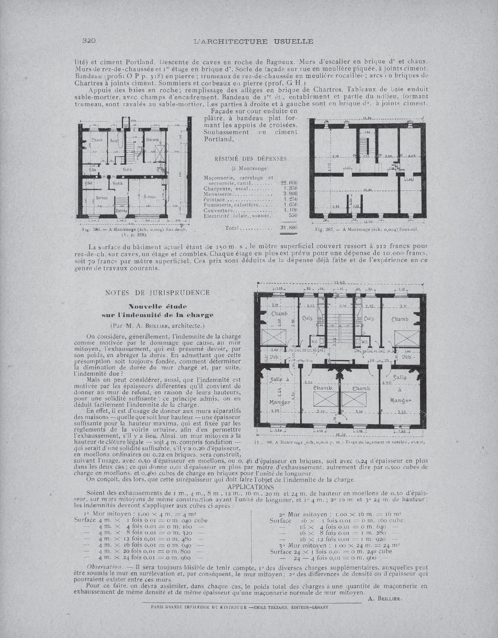 "in ""L'architecture Usuelle, avril 1906, p.318-320 - Reproduction de l'article ""Bureaux et logements à Montrouge (Seine)"""