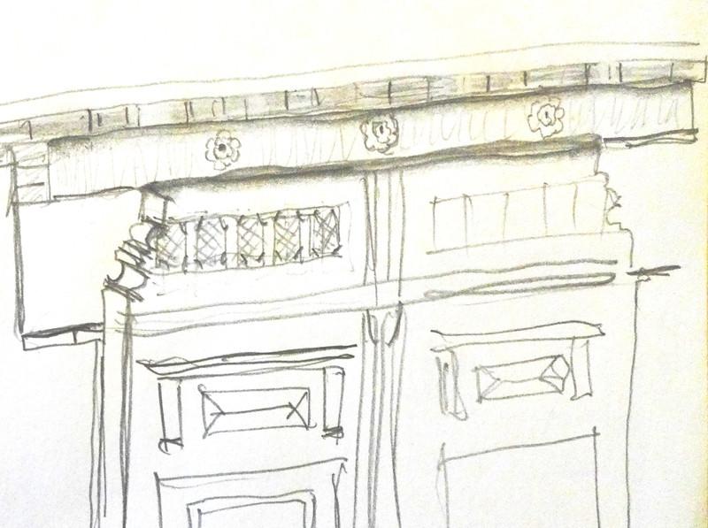 Croquis du linteau de la porte cochère. Noter les moulurations latérales des sommiers en pierre.