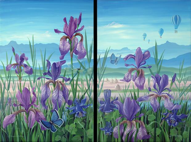 Blaues Land - je 80 x 120 cm, Acryl auf Leinwand, 2006