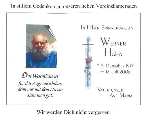 Werner Hahn, Todesanzeige