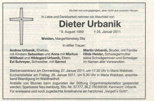 Dieter Urbanik, Todesanzeige
