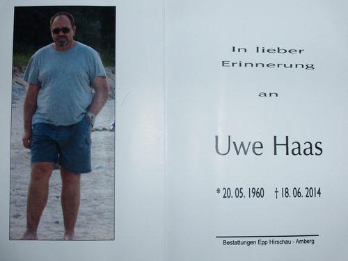 Uwe Haas, Todesanzeige