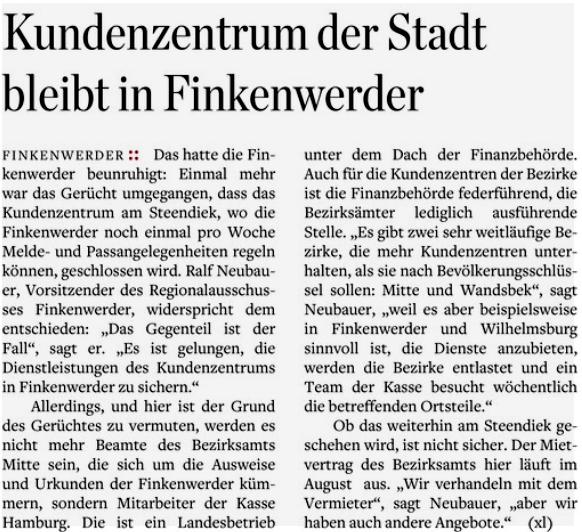 Hamburger Abendblatt vom 13.04.17 (Harburg Stadt Seite 1)