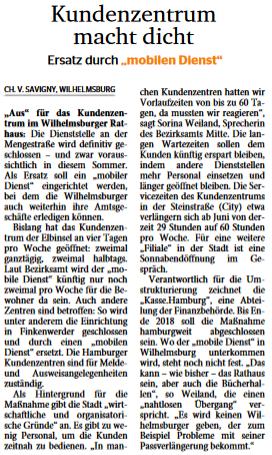 Wochenblatt Wilhelmsburg vom 12.04.17, Seite 1