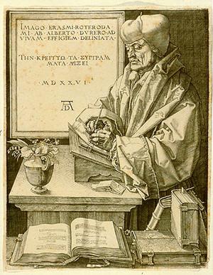Dürer, Erasme de Rotterdam,  1526.