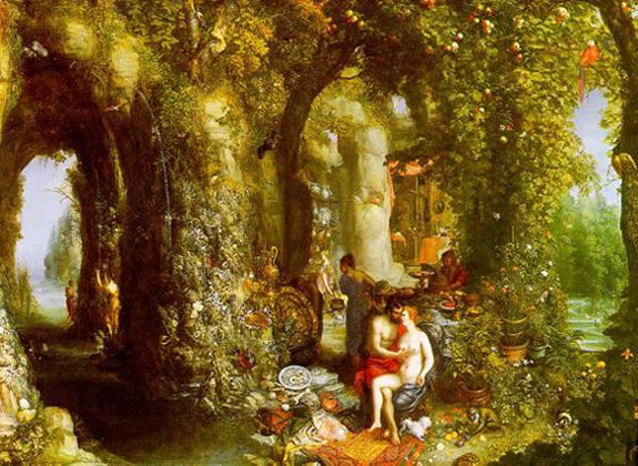 Jan Brueghel l'Ancien - La caverne fantastique avec Ulysse et Calypso (v. 1616)