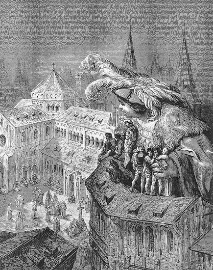 Illustration de Gustave Doré (1873) pour Vie inestimable du Grand Gargantua, de François Rabelais. (Bibliothèque nationale de France, Paris.)  Ph. Coll. Archives Larbor