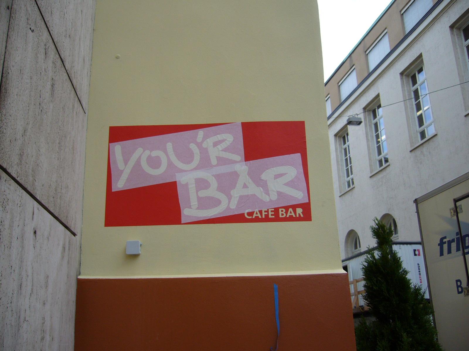 Gestrichene Beschriftung, Birsig-Parkplatz in Basel.