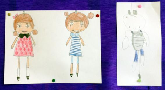 Les personnages du livre dessinés par la classe de CE1 de l'école de Sannerville