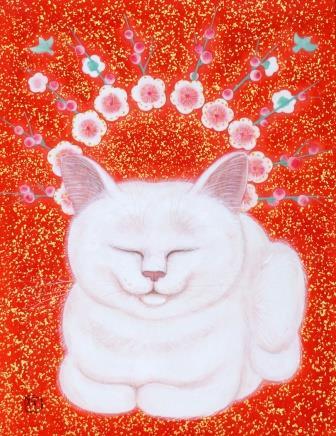 「白猫に梅」  F0号  紙本彩色・箔  2015年制作